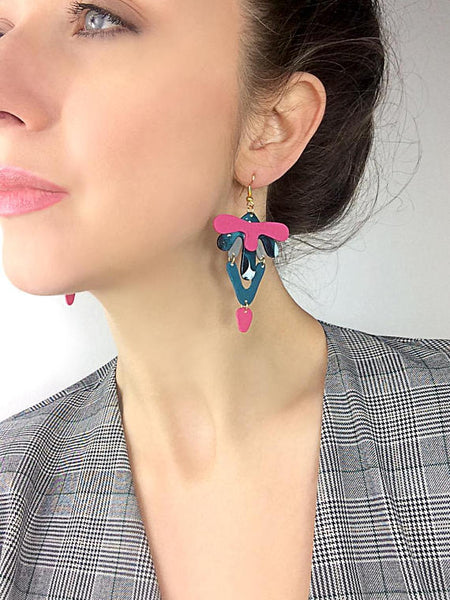 Statement Pink and Marble Abstract Earrings