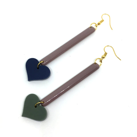 Heart Long Bar Earrings
