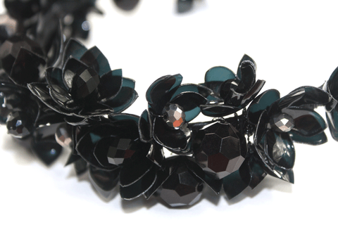 Flower Bead Hair Fascinator Black Wedding