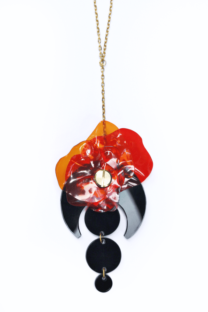 black_acrylic_pendant_necklace_with_red_upcycled_flower