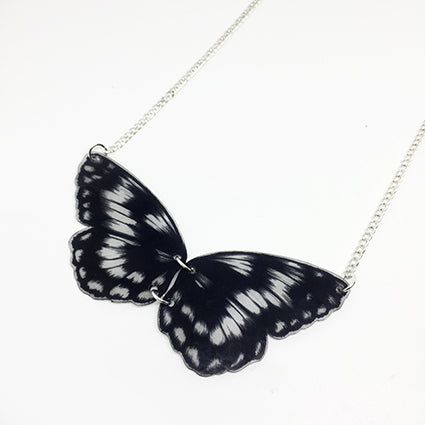 Black and White Bib Butterfly Necklace