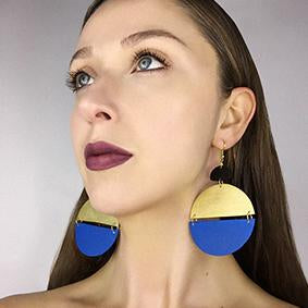 two half circle drop earrings