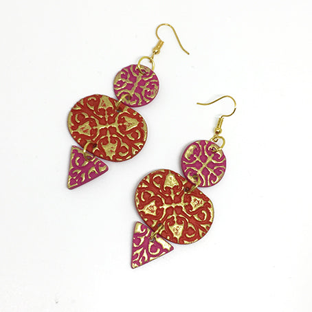 Tiered Engraved Earrings in Red and Pink