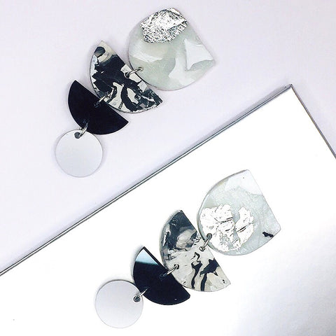 Recycled Silver Flake Marble Tiered Clip-On Earrings