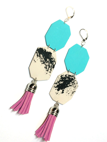 pink-tassel-earrings-geometric-turquoise-shape