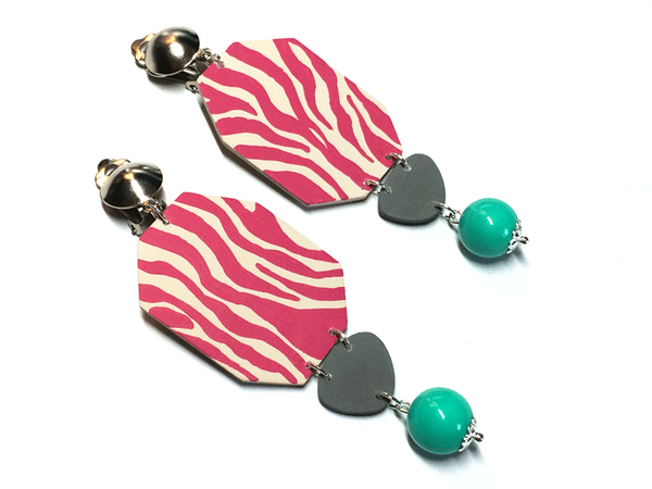 pink_zebra_hand_paint_block_earrings
