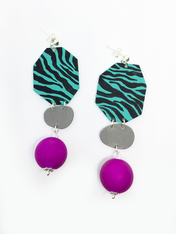 turquoise_zebra_purple_bead_earrings