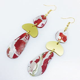 Red Marble Gold Three Tiered Eco Earrings