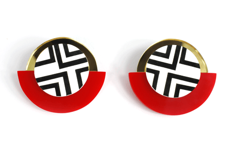 black_and_white_geometric_circle_earrings