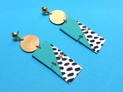 Pop-Art Painted Gold Circle Earrings
