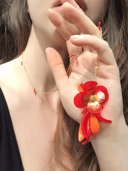 Red and Orange Flower Pendant Necklace