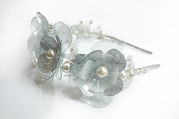 silver headband with pearls