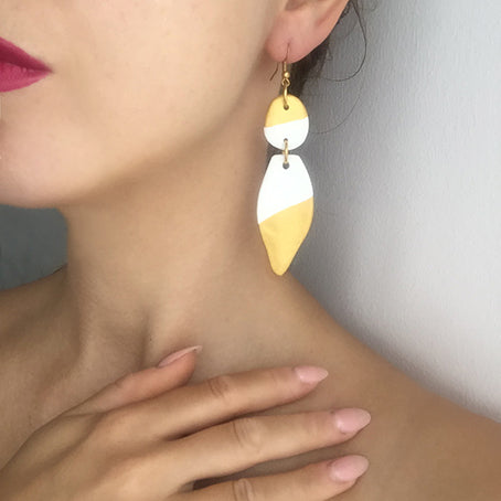 pointy clay earrings