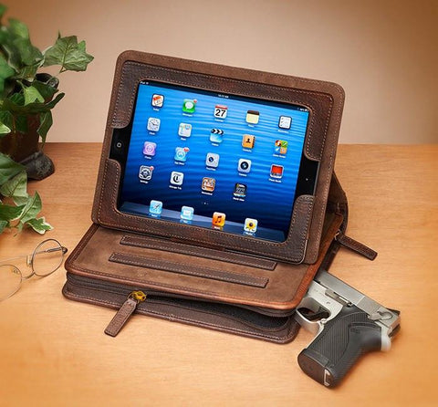 GTM-03 USA Bison Leather CCW iPad Case Brown - Concealed Carry Handbags - CCW Purses - GunTotenMamas