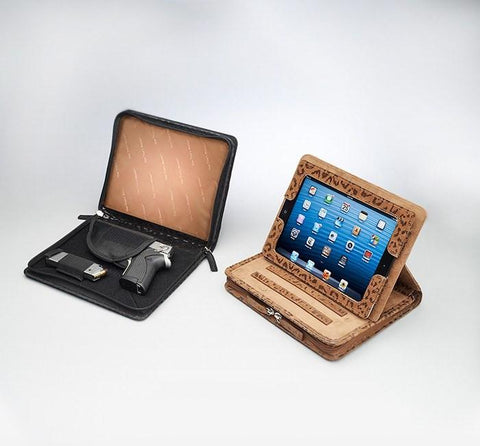 GTM-09DB Embossed Brushed Leather Leopard iPad Case - GunTotenMamas