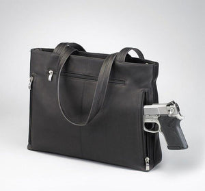 GTM-1018 Shoulder Portfolio Expresso Brown - Concealed Carry Handbags - CCW Purses - GunTotenMamas