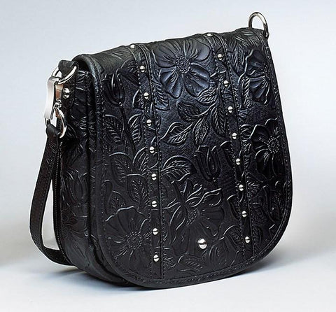 GTM-16 Simple Bling Tooled Leather Black - GunTotenMamas