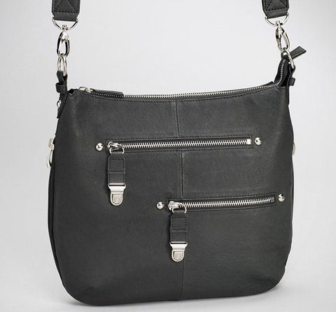 GTM-23 BK Chrome Zip Handbag Black - GunTotenMamas