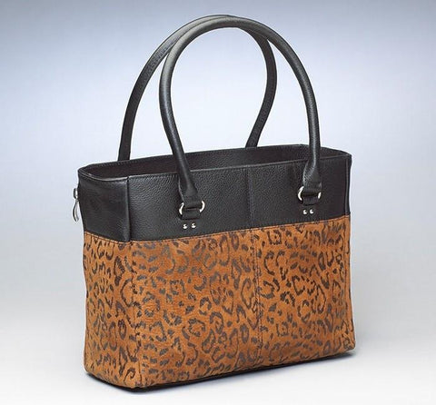 GTM-63 Traditional Open Top Tote Debossed Black Sueded Leather