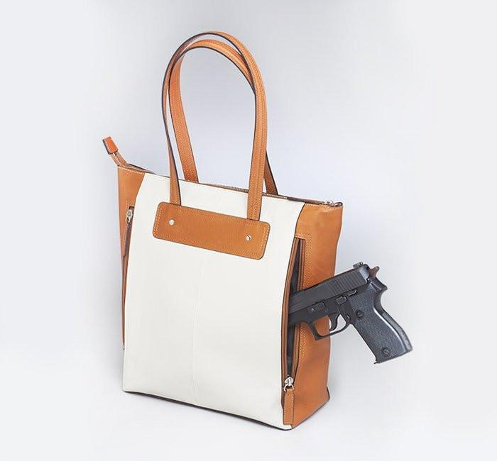 GTM-66 American Cowhide Vertical Shopper - Concealed Carry Handbags - CCW Purses - GunTotenMamas