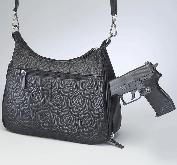 GTM-71 Embroidered Lambskin Basic Hobo - Concealed Carry Handbags - CCW Purses - GunTotenMamas