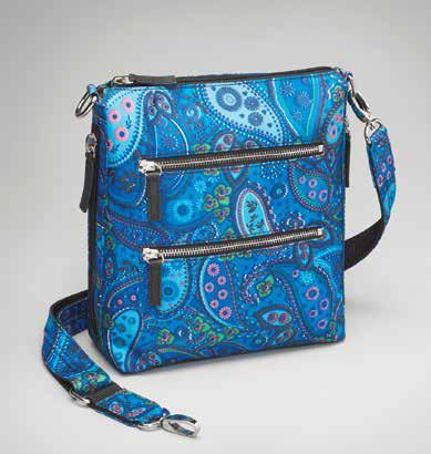 GTM-MF/20 PAISLEY BLUE X-BODY FLAT SAC - Concealed Carry Handbags - CCW Purses - GunTotenMamas
