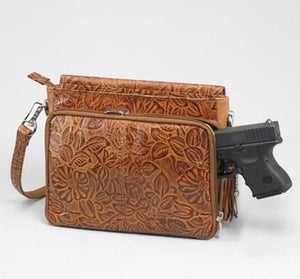 GTM-22 Tooled American Cowhide Tan - Concealed Carry Handbags - CCW Purses - GunTotenMamas