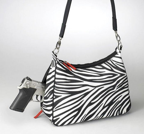 GTM-70 Concealed Carry Basic Hobo Handbag Zebra - Concealed Carry Handbags - CCW Purses - GunTotenMamas