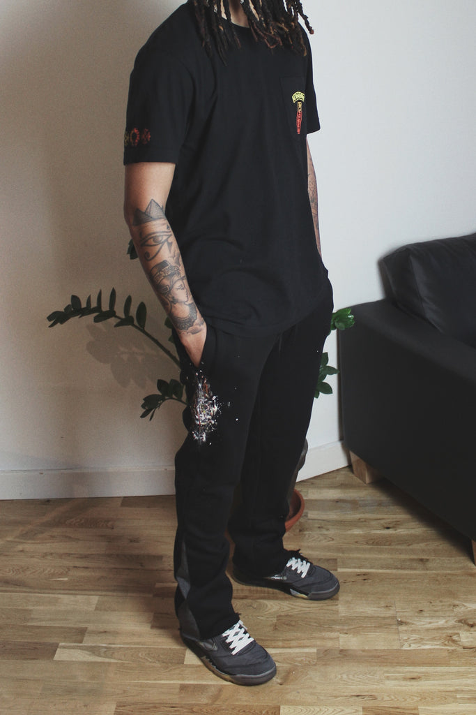 Reworked Flare Joggers - Black/Grey Large
