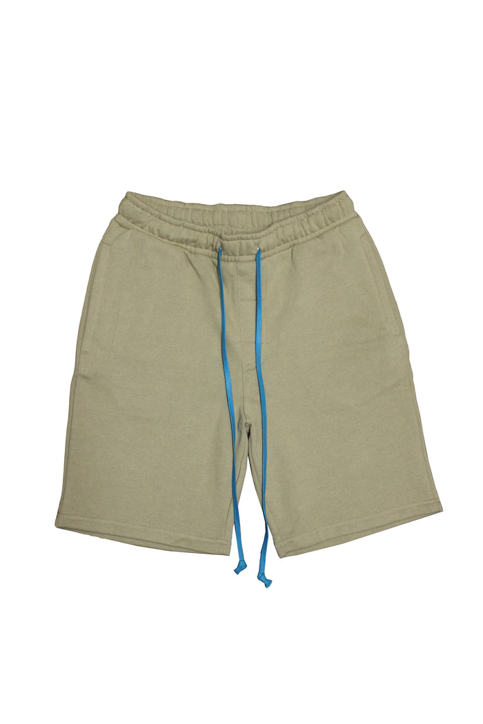 Drawstring Shorts - Beige/Blue