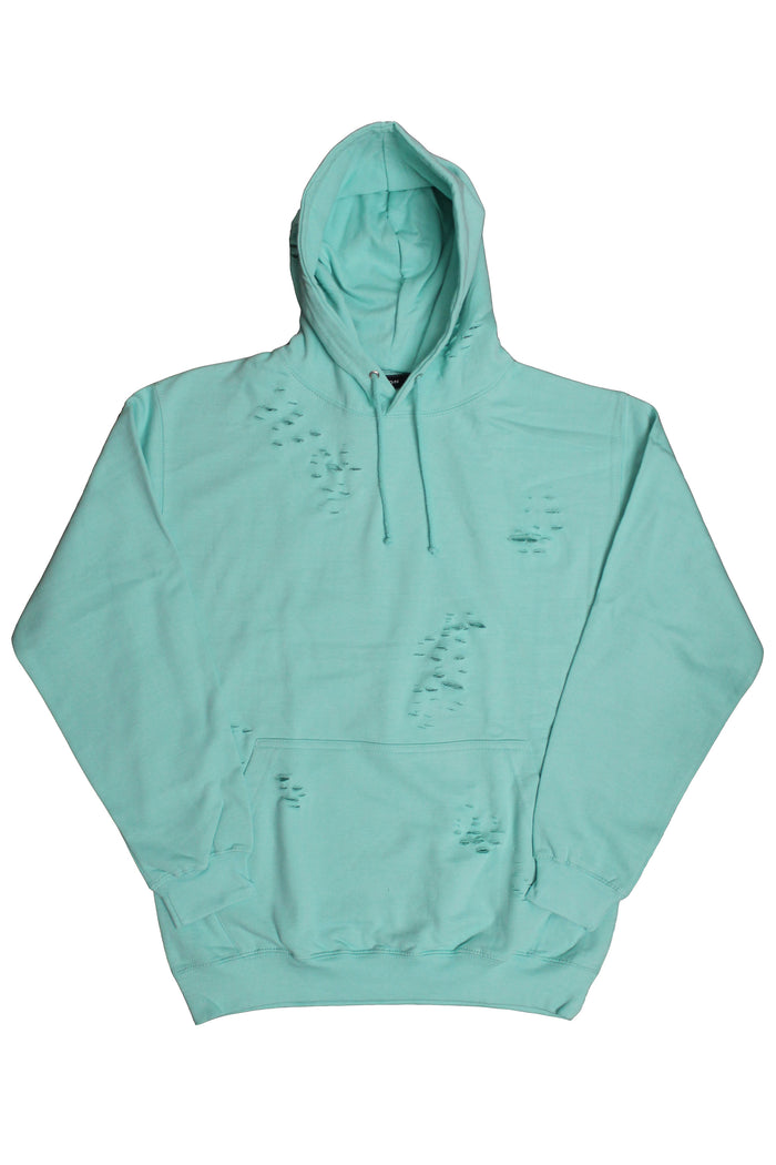 Distressed Hoodie - Tiffany Blue
