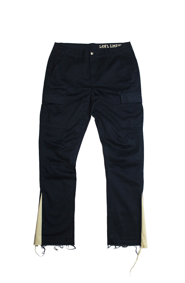 Reworked Flare Cargos - Navy/Beige Medium
