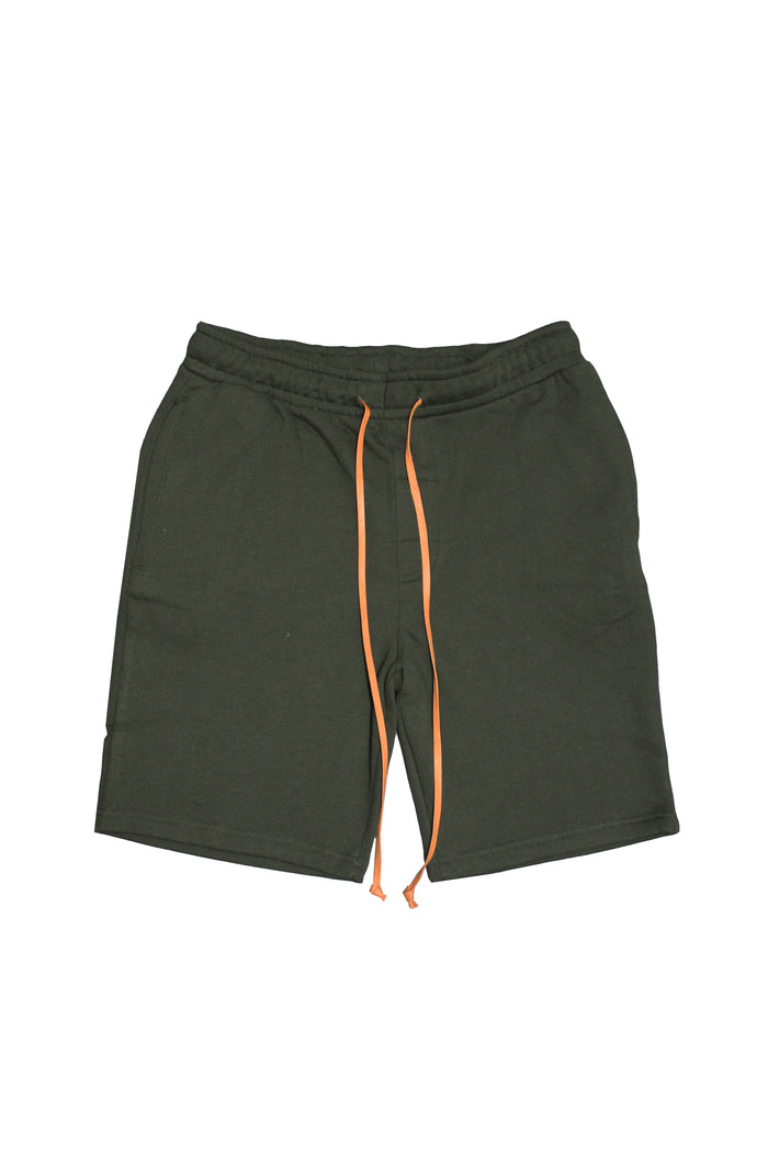 Drawstring Shorts - Olive/Orange