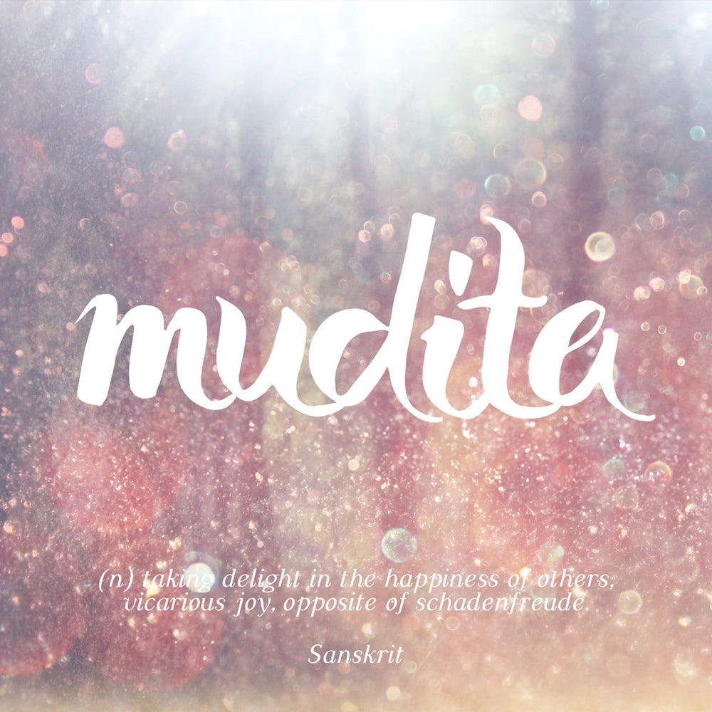 Mudita - taking delight in the happiness of others, vicarious joy, opposite of schadenfreude, LetterNote Joy of Living