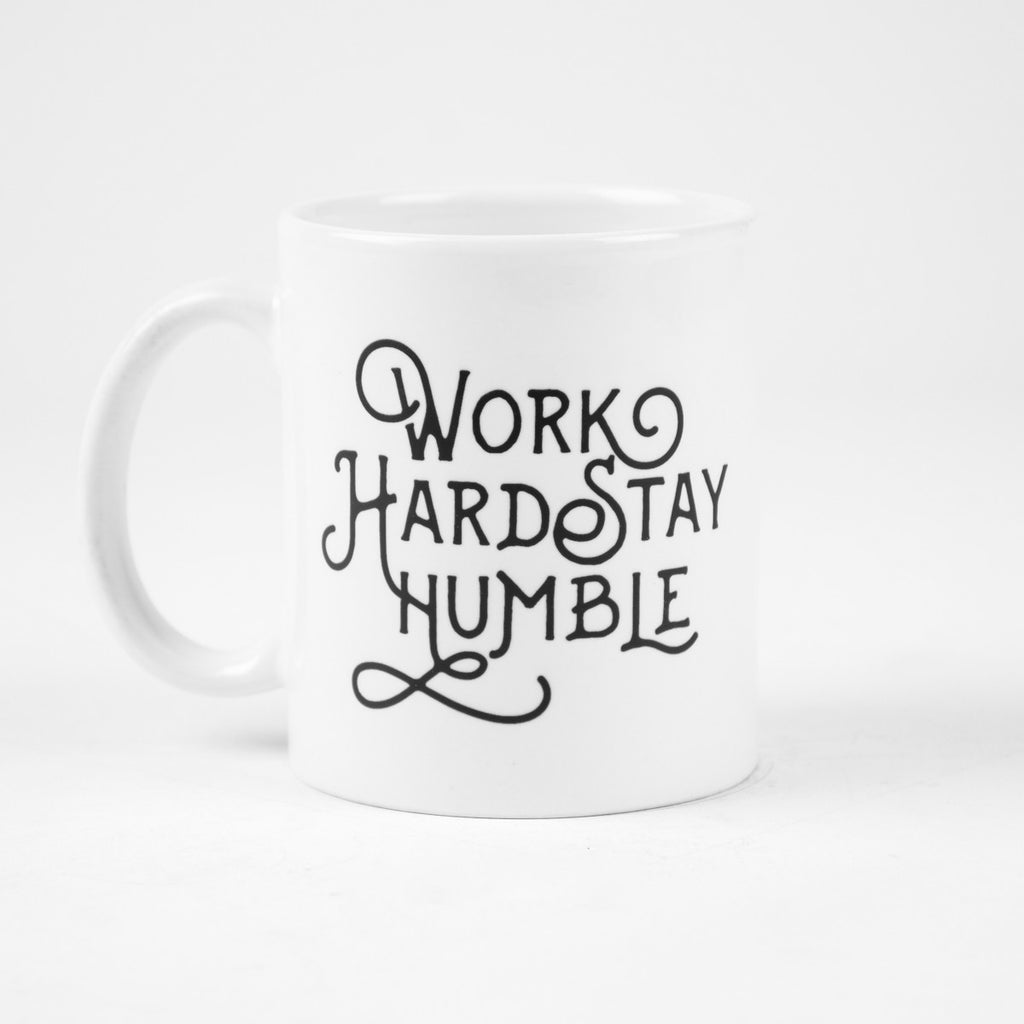 Work Hard Stay Humble Typography Mug