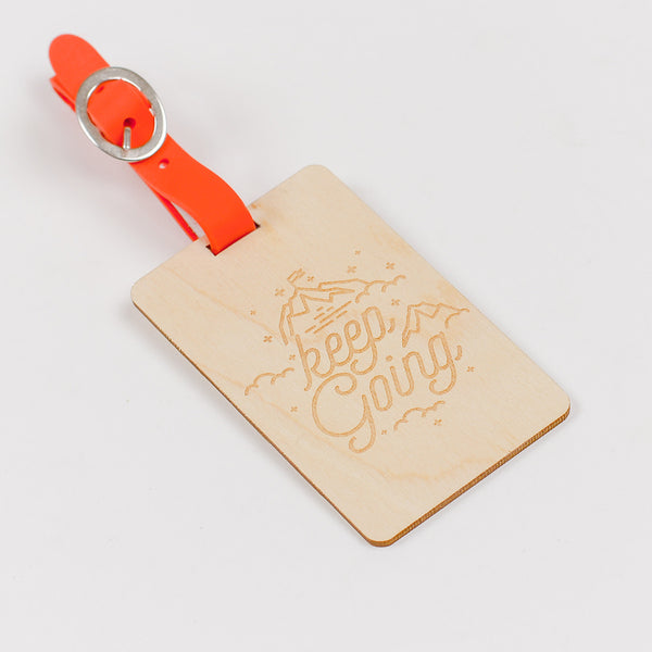 Keep Going Wooden Luggage Tag