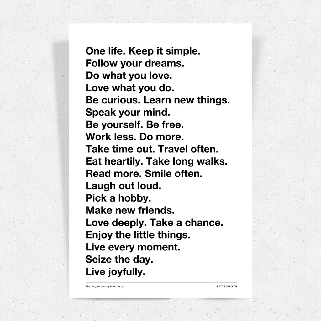 Live Joyfully Manifesto - Art Print