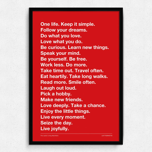 Live Joyfully Manifesto - Red Framed Art