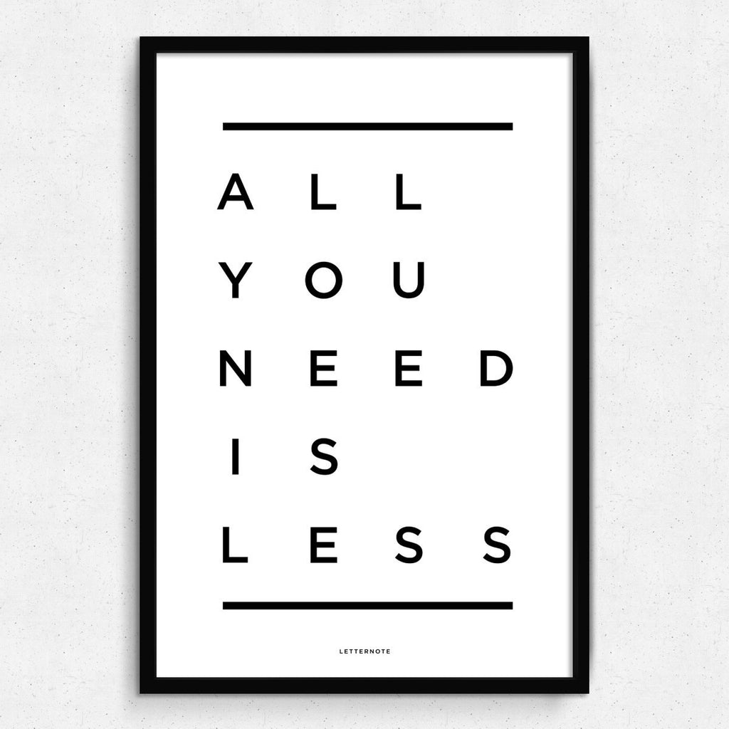 All You Need Is Less Framed Art