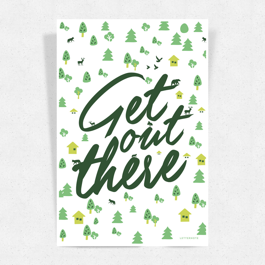 Get Out There White Art Print