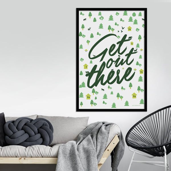 Get Out There White Framed Art