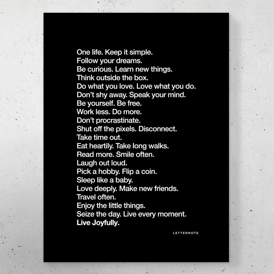 The LetterNote Manifesto - Black Small Frame (5