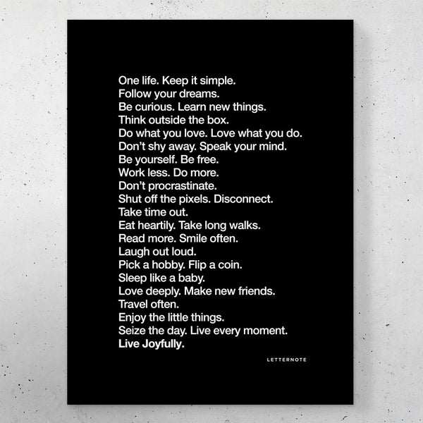 "The LetterNote Manifesto Black Small Frame (5"" x 7"")"
