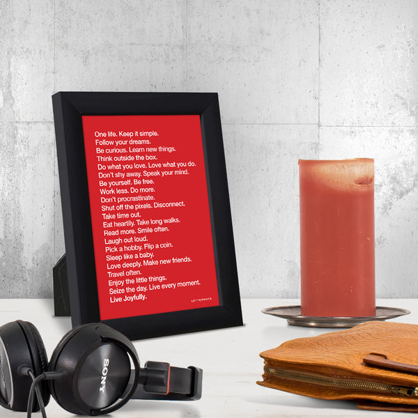 The LetterNote Manifesto Red Small Frame (5