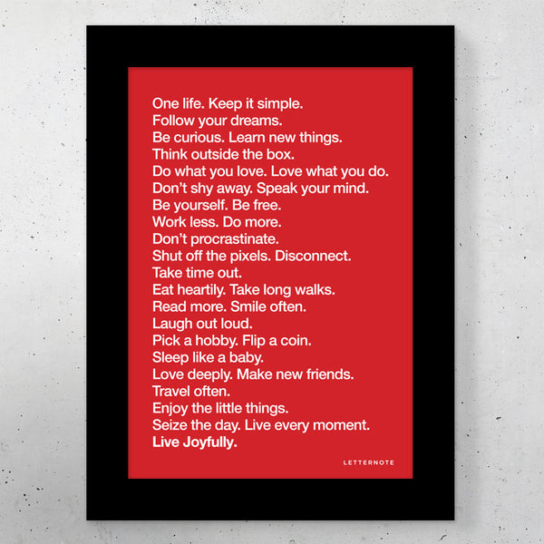 "The LetterNote Manifesto Red Small Frame (5"" x 7"")"