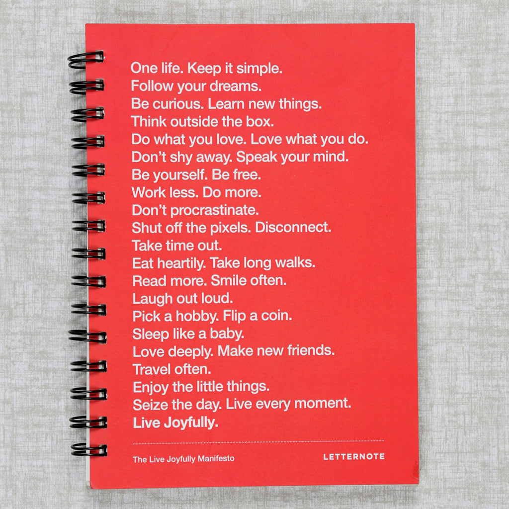 Live Joyfully Manifesto - Red Spiral Notebook