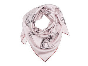 Square Scarf – Bonheur's Studies of A Horse and Rider, soft pink – red trim