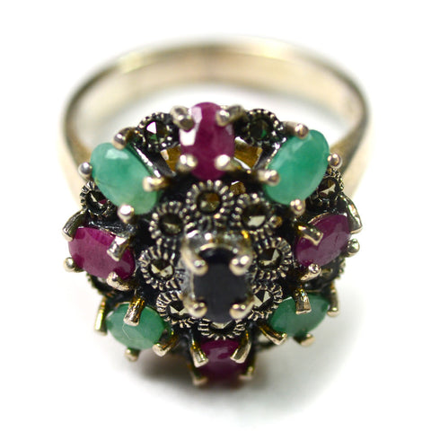 Ring, Antique Silver w/Stones