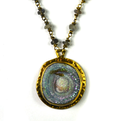 Necklace, Druzy Stone Pendant