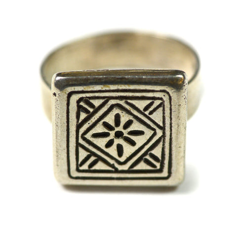 Ring, Plain Silver, Square Center